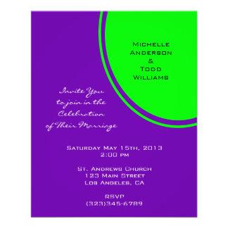 Bright purple and lime green Mod Wedding 11.5 Cm X 14 Cm Flyer
