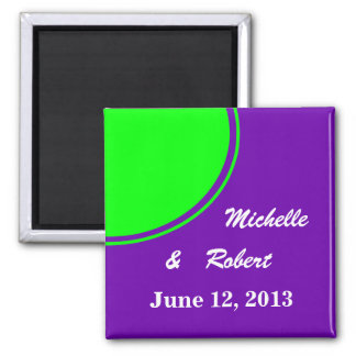 Bright purple and lime green Mod Wedding Fridge Magnet