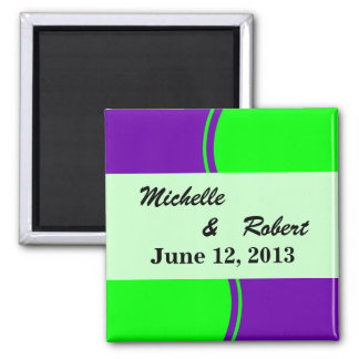 Bright purple and lime green Mod Wedding Magnets