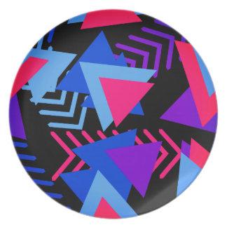 Bright Purple, Blue, Pink 80's Background Pattern Dinner Plates