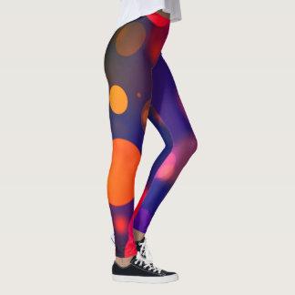 Bright Purple, Blue, Pink Bokeh Background Pattern Leggings