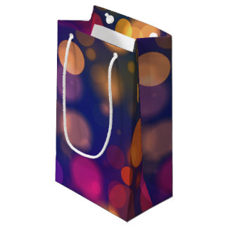 Bright Purple, Blue, Pink Bokeh Lights Pattern Small Gift Bag