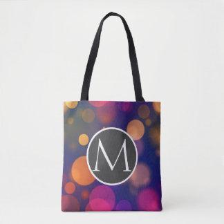Bright Purple, Blue, Pink Bokeh Lights Pattern Tote Bag