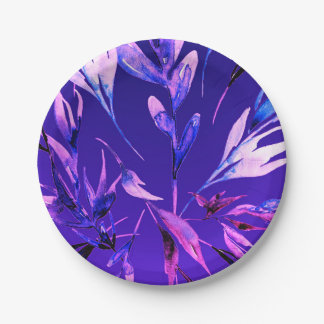 Bright Purple Bold Color Watercolor Botanical Glam Paper Plate