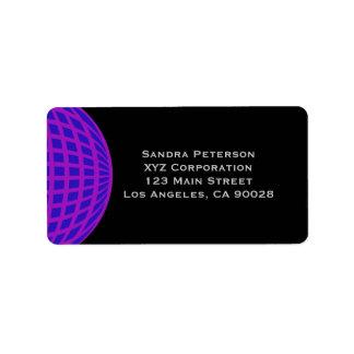 Bright purple circle globe business corporate address label