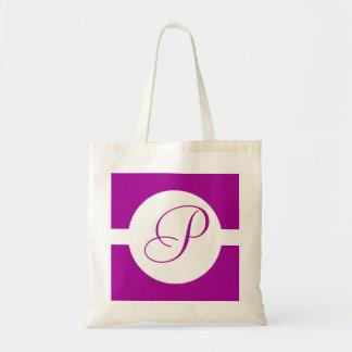 Bright Purple Circle Monogram Tote Bag