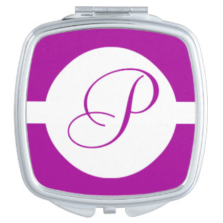 Bright Purple Circle Monogram Travel Mirror