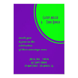 bright purple green mod circle wedding card