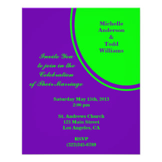 bright purple green mod circle wedding flyer