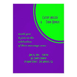 bright purple green mod circle wedding custom invitation