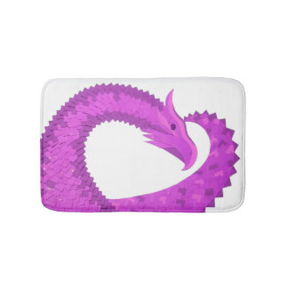 Bright purple heart dragon on white bath mat