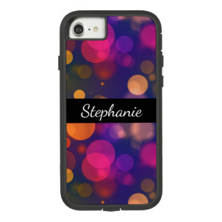 Bright Purple, Pink Bokeh Background with Name Case-Mate Tough Extreme iPhone 8/7 Case