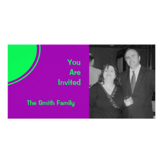 Bright purple pink lime green mod party invite photo greeting card