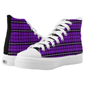 Bright Purple Plaid High Top Sneakers