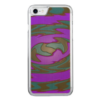 Bright purple teal abstract carved iPhone 7 case
