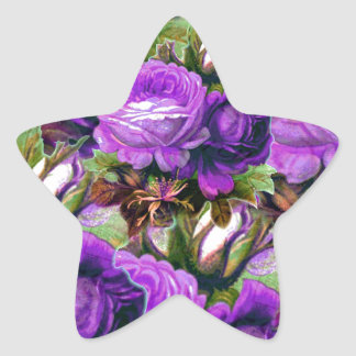 Bright Purple Vintage Roses Grunge Star Sticker