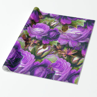 Bright Purple Vintage Roses Grunge Wrapping Paper