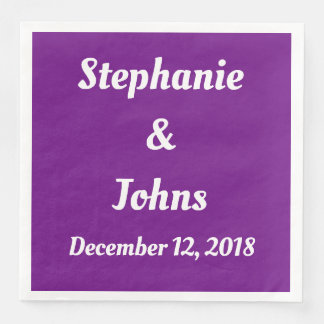 Bright Purple Wedding Simple Cute Trendy Cool Paper Napkin
