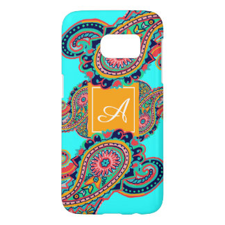 Bright Rainbow Aqua Paisley Monogram