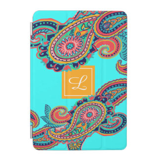 Bright Rainbow Aqua Paisley Monogram iPad Mini Cover