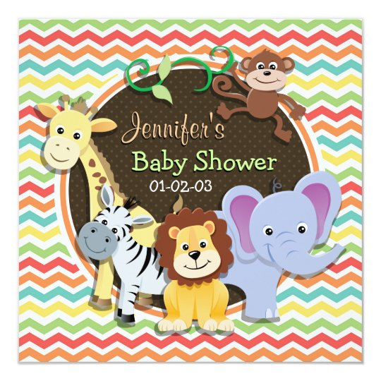 Bright Rainbow Chevron Zoo Animals Baby Shower Card