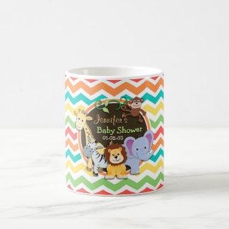Bright Rainbow Chevron Zoo Animals Baby Shower Mugs