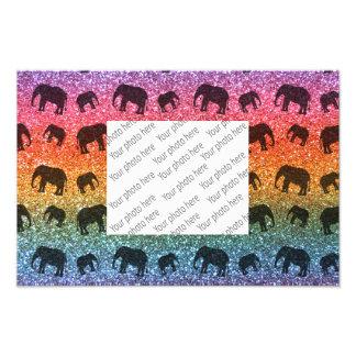 Bright rainbow elephant glitter pattern photo