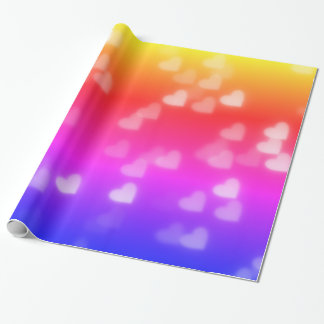 Bright Rainbow Heart Bokeh Pattern Wrapping Paper