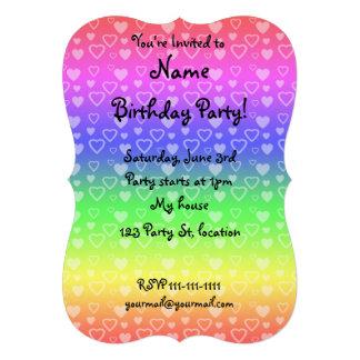 Bright rainbow hearts invitations