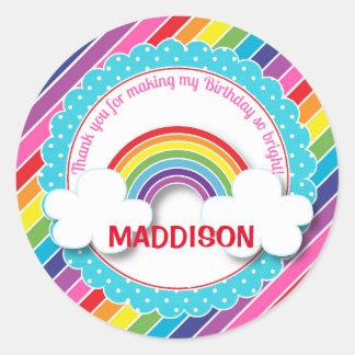 Bright rainbow kids girls birthday stickers
