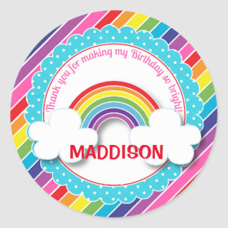 Bright rainbow kids girls birthday stickers favors