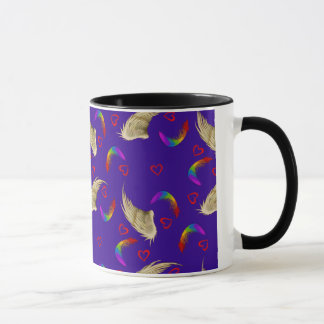 Bright Rainbow Mug with Wings and Hearts