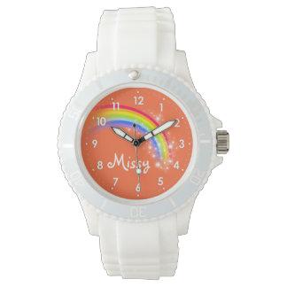 Bright rainbow orange name wrist watch