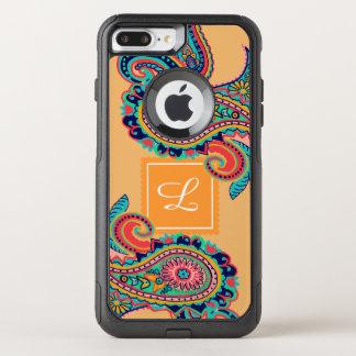 Bright Rainbow Orange Paisley Monogram OtterBox Commuter iPhone 8 Plus/7 Plus Case