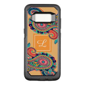 Bright Rainbow Orange Paisley Monogram OtterBox Commuter Samsung Galaxy S8 Case