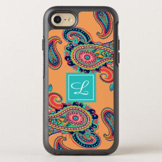 Bright Rainbow Orange Paisley Monogram OtterBox Symmetry iPhone 8/7 Case