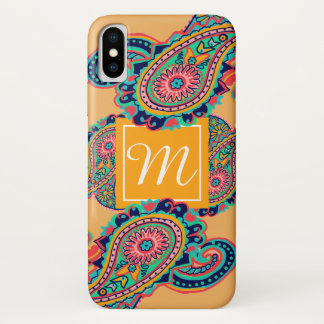 Bright Rainbow Orange Paisley Monogram Tribal iPhone X Case