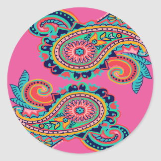Bright Rainbow Paisley Collection Teal Orange Pink Classic Round Sticker