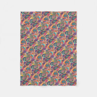 Bright Rainbow Paisley Fleece Blanket