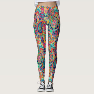 Bright Rainbow Paisley Leggings