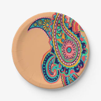 Bright Rainbow Paisley Paper Plate