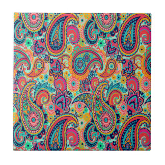 Bright Rainbow Paisley Small Square Tile