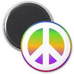 Bright Rainbow Peace Sign Magnets