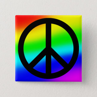 Bright Rainbow Peace Symbol 15 Cm Square Badge