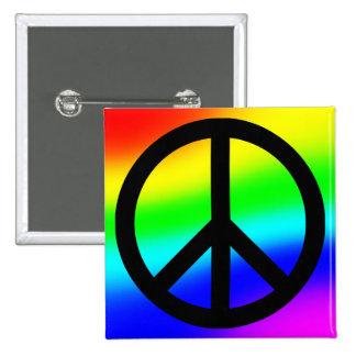 Bright Rainbow Peace Symbol 15 Cm Square Badge