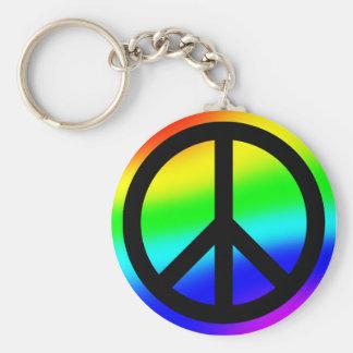 Bright Rainbow Peace Symbol Keychains