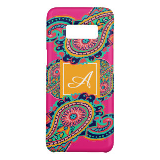 Bright Rainbow Pink Paisley Monogram Case-Mate Samsung Galaxy S8 Case