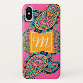 Bright Rainbow Pink Paisley Monogram Initial iPhone X Case