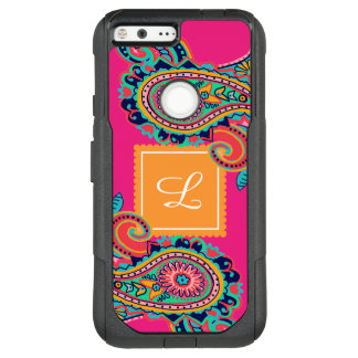 Bright Rainbow Pink Paisley Monogram OtterBox Commuter Google Pixel XL Case