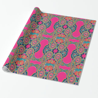 Bright Rainbow Pink Paisley Wrapping Paper